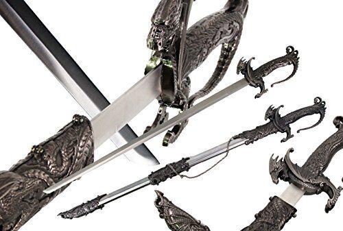 Saint George Dragon Saber Fantasy Medieval Knight Sword Silver