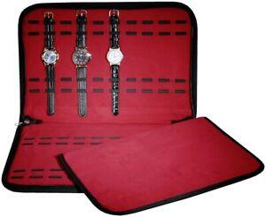 Uhrenmappe-fuer-20-Armbanduhren-Uhren-Mappe-Rot-Schutzhuelle-Samt-Aufbewahrung