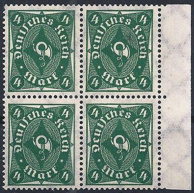 226a Im Viererblock Vom Rechten Seitenrand Aus Rollenbahnbogen Ein BrüLlender Handel 1919-1923 Posthorn Minr Deutschland Vor 1945