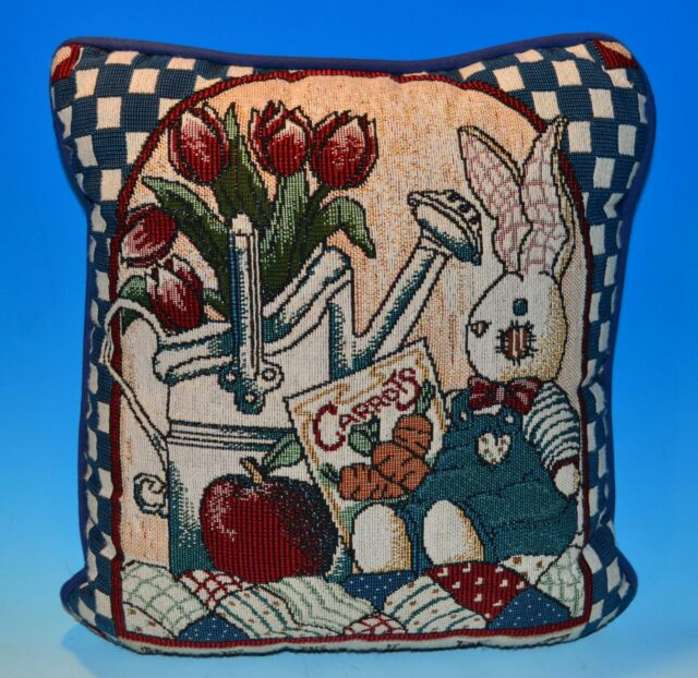 Decorative Accent Throw Pillow Tapestry Country Rabbit Animal Bunny Flower