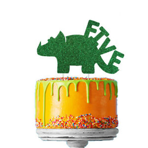 Image Is Loading Dinosaur 5th Birthday Cake Topper Number Five Fifth