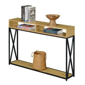 Tucson Deluxe Two-Tier Console Table in Light Oak Wood and Black Metal Frame