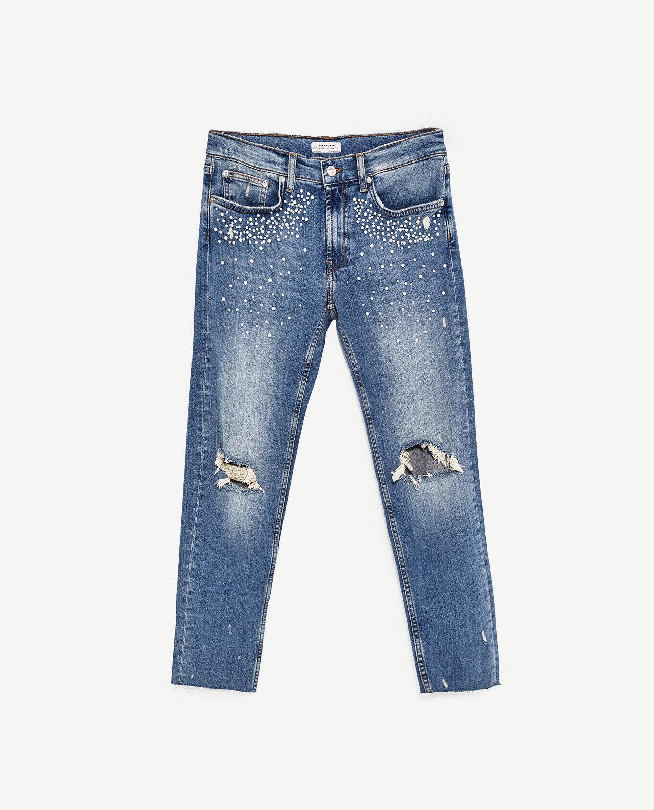 e435cb79 BNWT Zara blu slim fit Boyfriend Boyfriend Boyfriend jeans con perle  (Taglia 6) 5da8a4