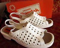 Sz 10 True Vtg 70s Womens White Rubber Strappy Mexican Sandals Sandak 26