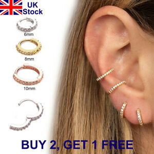 Cz Ear Piercing Huggie Hoop Earring Nose Ring Daith Conch Snug