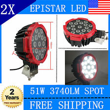 2X7INCH 51w EPISTAR LED light DRIVING JEEP 4X4 SPOT BEAM offroad TRUCK ROUND RED