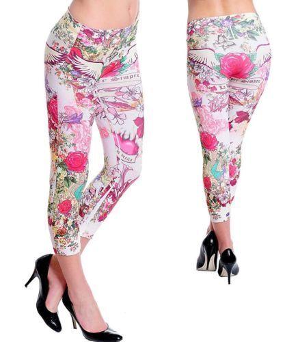 S,M,L S16 Tattoo-Print,Stretch,Seamless Capri Leggings