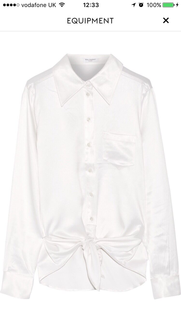 EQUIPMENT Weiß Silk Charmeuse Luis Shirt Top Tie Waist Long Sleeve XS S New