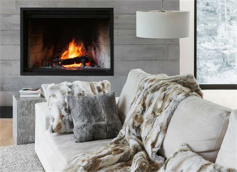100% Real Rabbit Fur Fleece Blanket Wool Thrownatural Carpet Suitable Bedspread