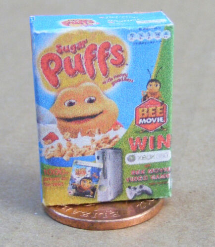 SCALA 1:12 dimensioni famiglia vuota sugar puffs cereali pacchetto tumdee Cibo Casa delle Bambole