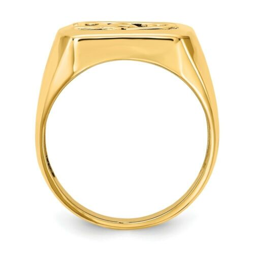 Genuine 14k Yellow Gold Diamond DAD Mens Onyx Dad Ring  4.16 gr