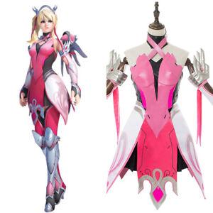 Overwatch-Angela-Ziegler-Cosplay-Costume-The-Pink-Mercy-Skin-New-Arrival