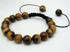 Men's Shambhala bracelet all 10mm NATURAL TIGER'S EYE STONE GEMS ROUND BEADS