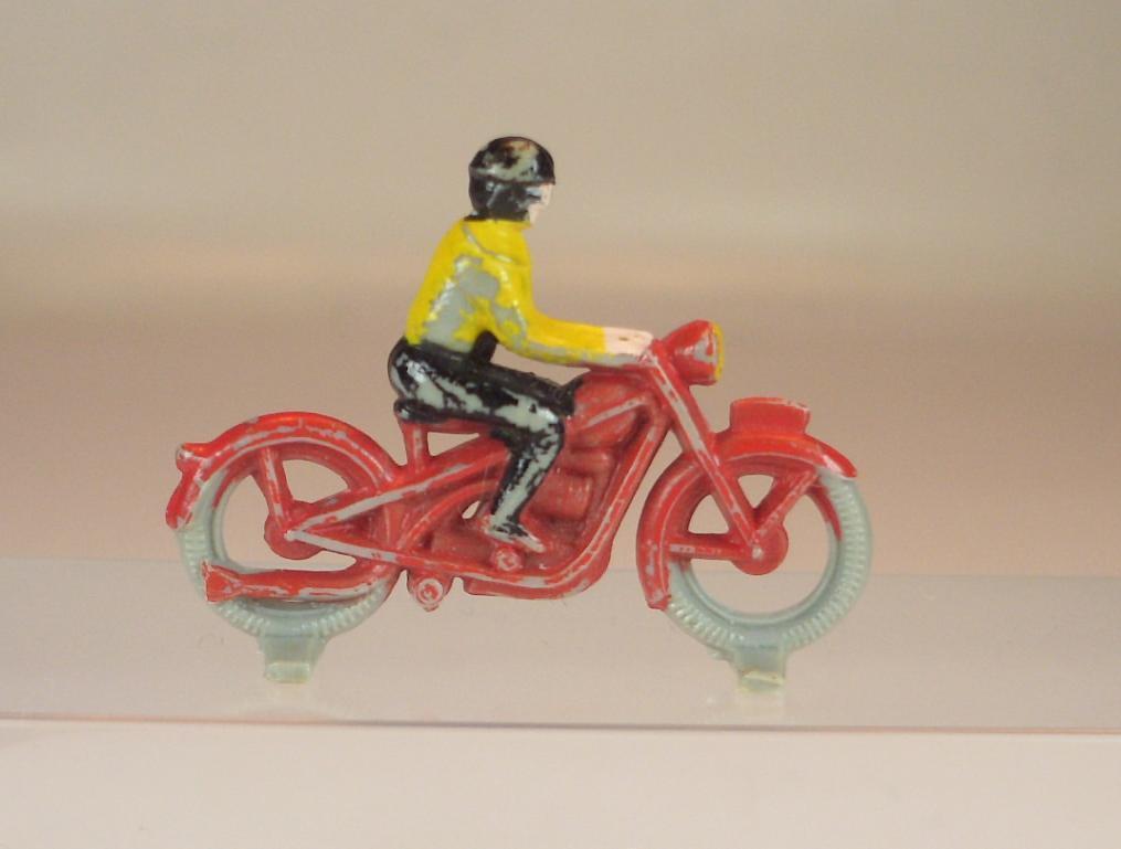 Lego alt 1 87 Motorrad m.Fahrer alte Form 1.Version karmin-red 50 60er Jh.