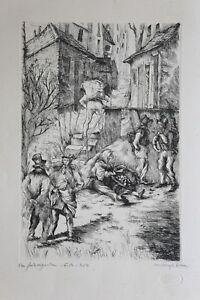 Henri-georges-Adam-1904-1967-Scene-Village-1-3-School-of-Paris-Perros-Guirec