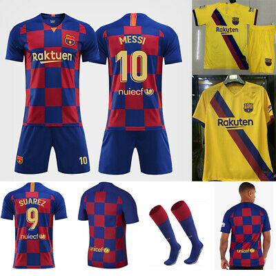 the latest e63e8 25486 19/20 Messi Football Youth Jersey Strips Soccer Training Sports Kit Kid Boy  Suit | eBay