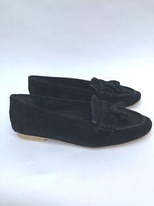 Topshop-Pelle-nera-in-pelle-scamosciata-nappa-mocassini-scarpe-taglia-UK8-UK9