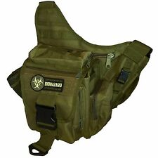 Men's Tactical Daddy Diaper Bag - Olive - With Blow Out / Biohazard Morale Patch
