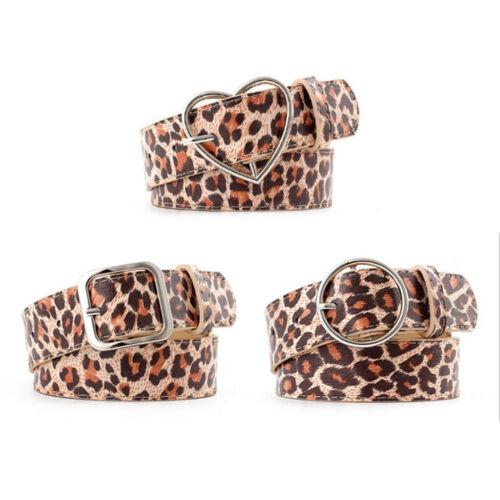 Ceinture en cuir artificiel imprimé léopard Lady Jeans Casual Pantalon