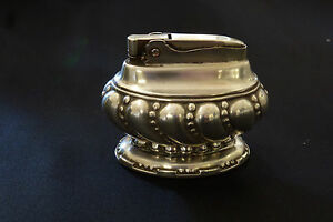 Ronson-Crown-Table-Top-Lighter-Silver-Plate-Art-Deco-Vintage