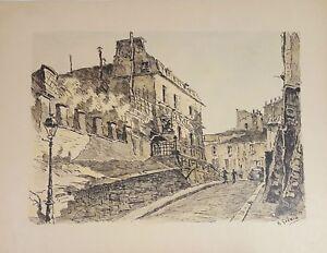 PARIS STREET. DE TIRAGE D'ENCRE ET L'AQUARELLE. FRANCE. A. GUERIN. CIRCA 1940.