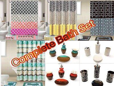 19-Piece Complete Bathroom Set Rugs Shower Curtain Hooks ...