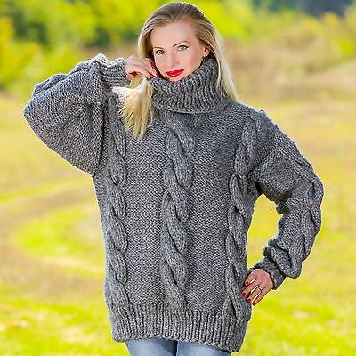 6591620d3a90f Grey thick sweater hand knitted wool gray jumper cable pullover SUPERTANYA  SALE