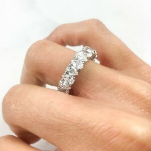 18K-White-Gold-Pear-Diamond-Eternity-Ring-Size-6-Band-4-23-CT-Certified-Natural
