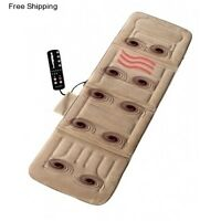 Heated Massage Mat Full Body Vibrating Back Massager Pad Comfort Shiatsu Cushion