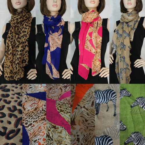 Women's Long Chiffon Leopard Zebra Safari Animal Print Scarf Wraps Shawl Scarves