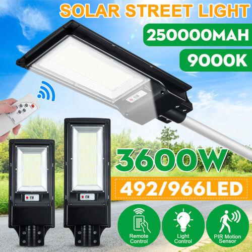 966000LM 966 LED Solar Street Light PIR Motion Sensor Outdoor Wall Lamp+Remote
