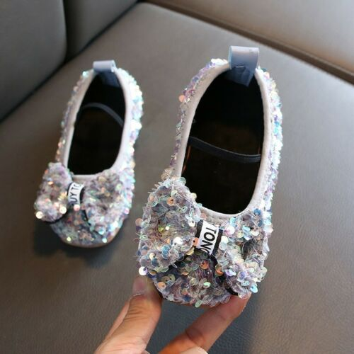 Children Infant Kids Baby Girl Bowknot Bling Sequins Single Princess Party Shoes