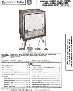 Details about Service Manual 1955 Photofact w-Schematic GE 21C106 21T37 on