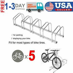 4//5 Bike Bicycle Stand Parking Garage Storage Organizer Cycling Rack Silver US