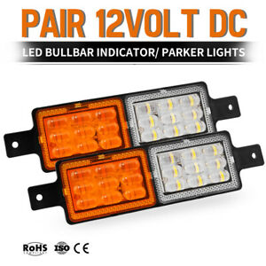 Pair-Bull-Bar-Front-LED-Indicator-SUBMERSIBLE-FM850-12V-Park-Light-Side-Marker