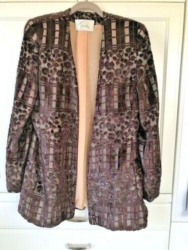 Vintage TRAVILLA Velvet Brown Ecru Jacket Blazer S