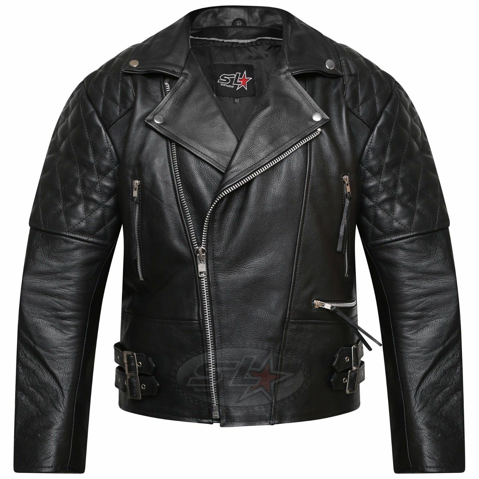 22d0016bb22 Details about MENS PLUS SIZE HIGH QUALITY CE ARMOUR MOTORCYCLE REAL LEATHER  BIKER JACKET