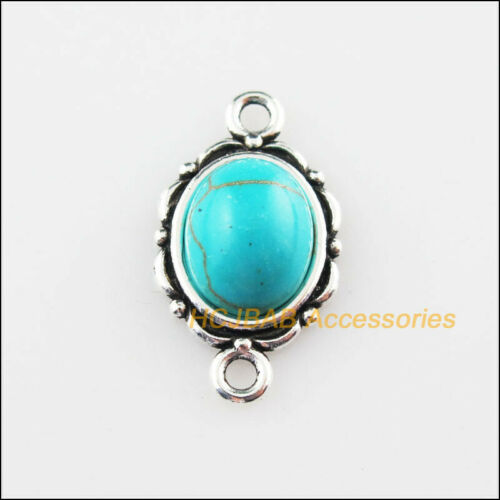 15 New Oval Charms Connector Turquoise Tibetan Silver Pendant Retro 12x21mm