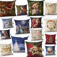 Cotton Linen Christmas Sofa Waist Throw Cushion Cover Car Pillow Case Cover