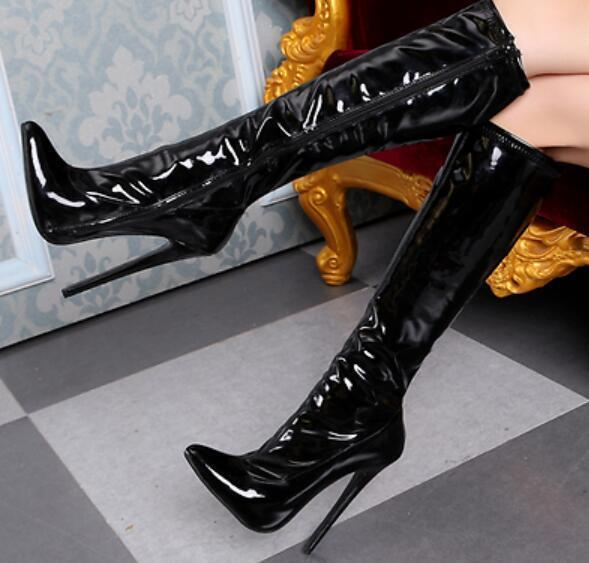 Womens 2018 Pointy Toe Platform Lace Up Sexy Knee High  Riding Boots Heel shoes