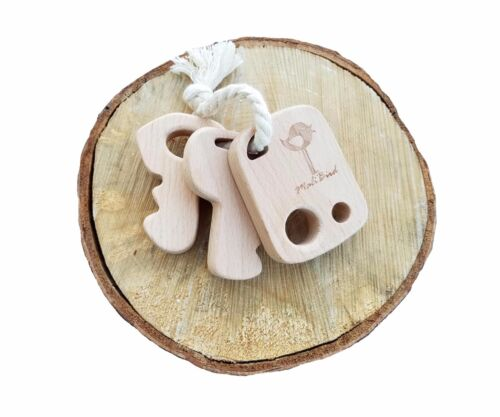Best Natural Wooden Teether Key Chain Toy Rattle KEYS Untreated Organic Natural