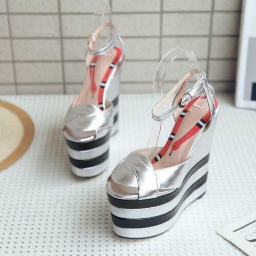 2019 Fashion donna Platform Wedge Heel Ankle Strap Peep Peep Peep Toe Punk Leather scarpe@ 014782