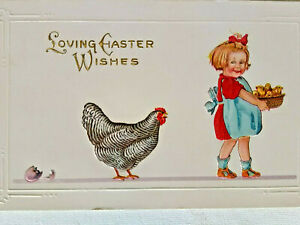 Vintage-Easter-chicken-chicks-early-unused-postcard-color-embossed