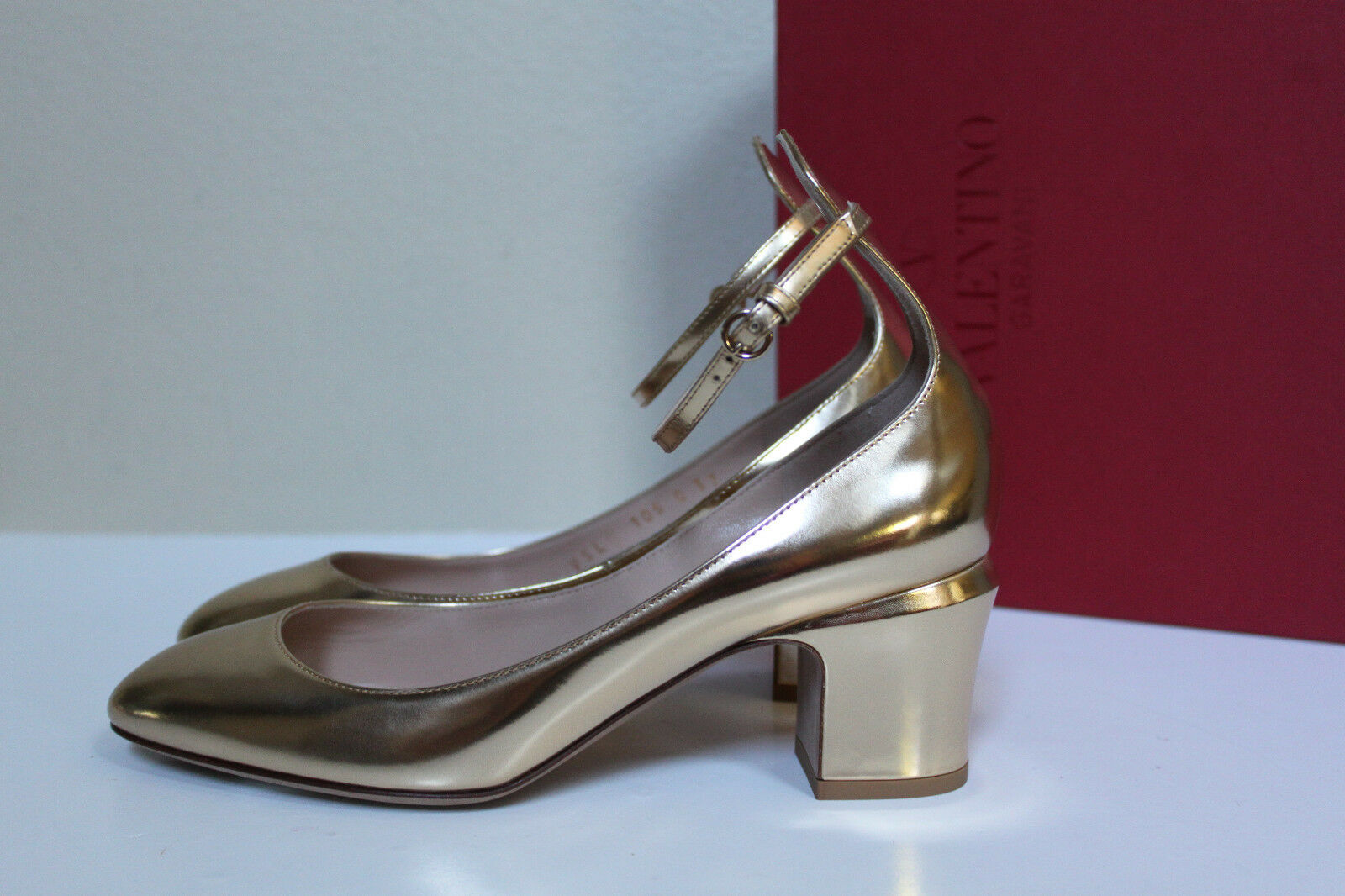 Sz 9.5   40 Valentino gold Metallic Leather Tan-Go Tango Ankle Strap Pump shoes