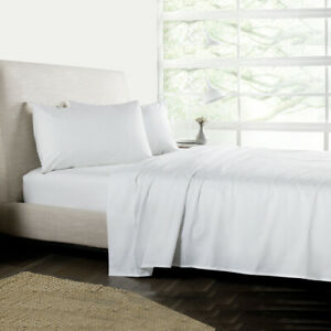 Cal-King-Size-Bedding-Sheet-Set-4-Piece-White-Solid-15-034-Drop-Soft-Microfiber