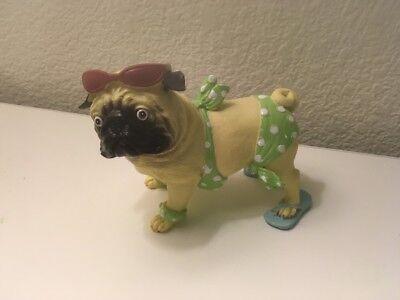 Nib Pug Dog Figurine Green Polka Dot Beach Wear With Sungles