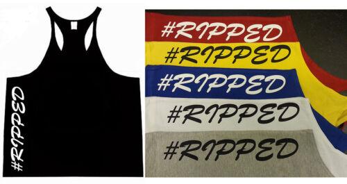 #RIPPED VEST TANK TOP STRINGER GYM LOW SCOOP NECK MENS RACERBACK Bodybuilding