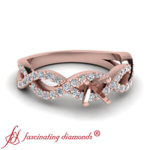 d3b0e2989 Half Carat Semi Mount Round Accented Infinity Twist Engagement Ring ...