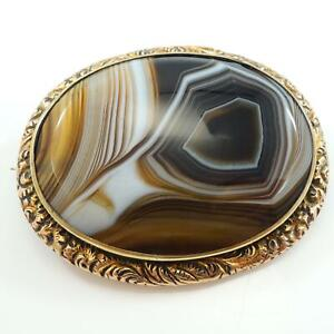 Victorian-Brooch-Banded-Agate-Cabochon-Gold-Gilt
