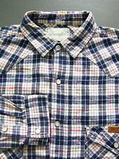 Wrangler Western Checked Shirt Men's XL Extra Large Blue Flannel Vtg # LSHz420